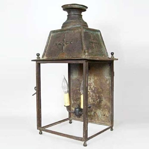 French Copper Outdoor Two-Light Wall Midi Railway Station Lantern inside Antique Outdoor Wall Lights (Image 8 of 10)