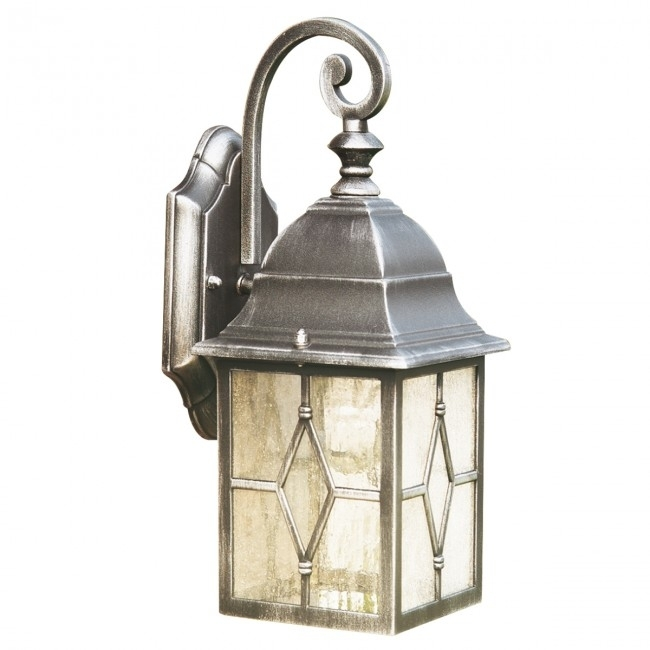 Genoa Ip44 Black & Silver Outdoor Wall Light With Lead Glass Inside Silver Outdoor Wall Lights (View 6 of 10)