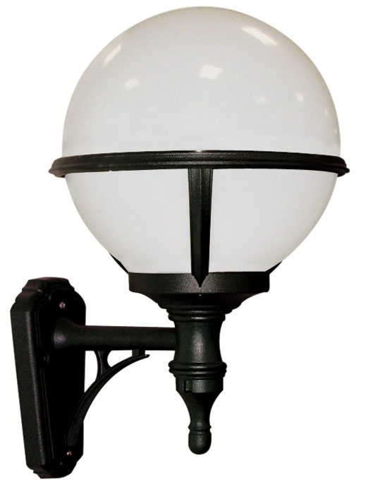 Glenbeigh Upward Facing Opal Globe Black Outdoor Wall Light inside Outside Wall Globe Lights (Image 1 of 10)
