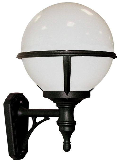 Glenbeigh Upward Facing Opal Globe Black Outdoor Wall Light regarding Globe Outdoor Wall Lighting (Image 1 of 10)
