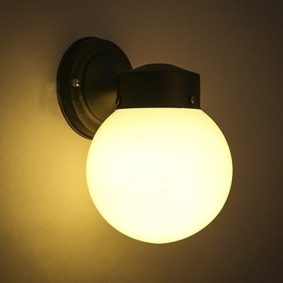 Globe Shape Single Light Wall Lamp - Beautifulhalo with Outside Wall Globe Lights (Image 4 of 10)