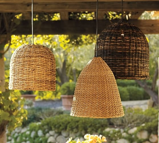 Grove Wicker Indoor/outdoor Pendant Lights, Set Of 3 | Pottery Barn Intended For Outdoor Rattan Hanging Lights (View 5 of 10)