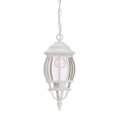 Hampton Bay 1 Light Outdoor Hanging White Lantern With Clear Beveled Throughout White Outdoor Hanging Lights (View 4 of 10)