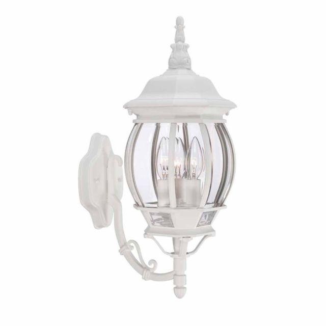 Hampton Bay 3-Light White Outdoor Wall Lantern 883902 | Ebay in Outdoor Wall Lights in White (Image 5 of 10)