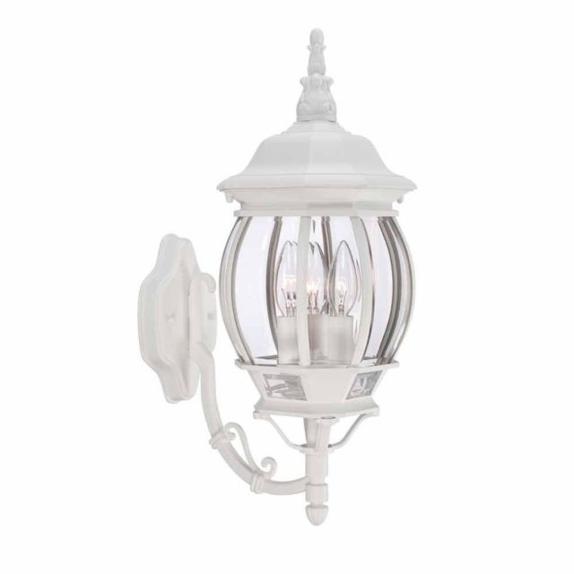 Hampton Bay 3-Light White Outdoor Wall Lantern 883902 | Ebay inside White Outdoor Wall Lights (Image 3 of 10)