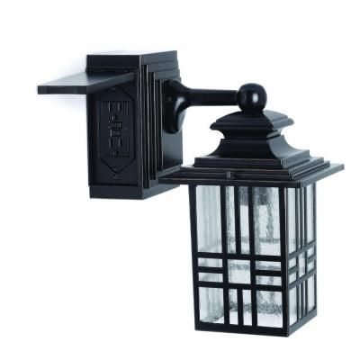 Hampton Bay Mission Style Black With Bronze Highlight Outdoor Wall throughout Outdoor Wall Lighting With Outlet (Image 5 of 10)