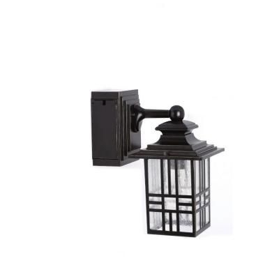 Hampton Bay Mission Style Black With Bronze Highlight Outdoor Wall within Outdoor Wall Lights With Electrical Outlet (Image 2 of 10)