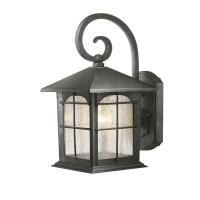 Hampton Bay Wall-Mount 1-Light Outdoor Aged Iron Lantern-Y37029-151 pertaining to Outdoor Wall Lighting At Home Depot (Image 2 of 10)