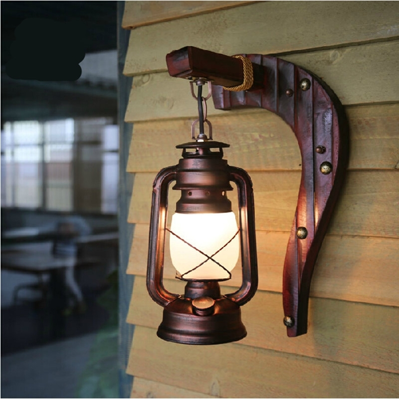 Hand Crafted Vintage Bamboo Iron Lantern Led E27 Wall Lamp Creative with regard to Vintage Outdoor Wall Lights (Image 6 of 10)