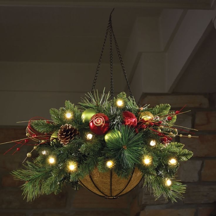 Hanging Christmas Potsthese Are The Best Diy Christmas Homemade pertaining to Outdoor Hanging Basket Lights (Image 7 of 10)