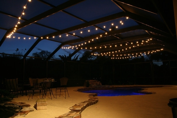 Hanging Market Lights Over A Pool Deck In Tampa, Fl. | Lanai pertaining to Outdoor Hanging Pool Lights (Image 5 of 10)