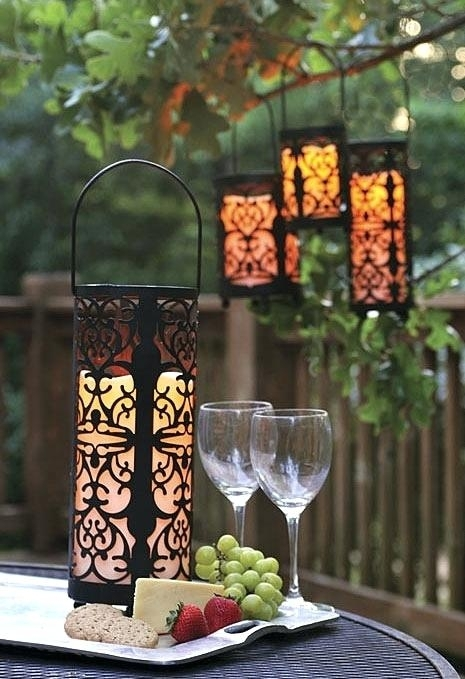 Hanging Solar Lights Outdoor Led Hanging Lantern With 5 Hour Timer with Outdoor Hanging Solar Lanterns (Image 4 of 10)
