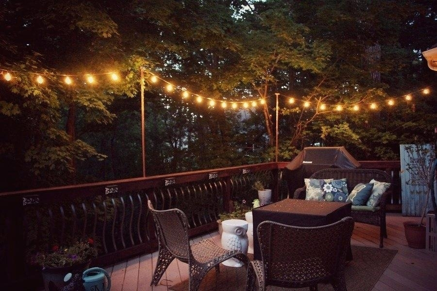 Hanging String Lights Outdoors Evening Lighting On The Deck Ideas pertaining to Hanging Outdoor Lights On Deck (Image 3 of 10)
