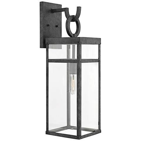 """Hinkley Porter 25"""" High Aged Zinc Outdoor Wall Light 
