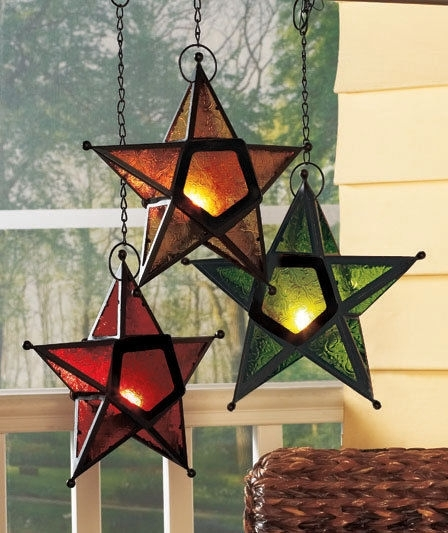 Home Big Holiday Stars Hanging Star Candleholders #handmade #holiday within Outdoor Hanging Star Lanterns (Image 4 of 10)