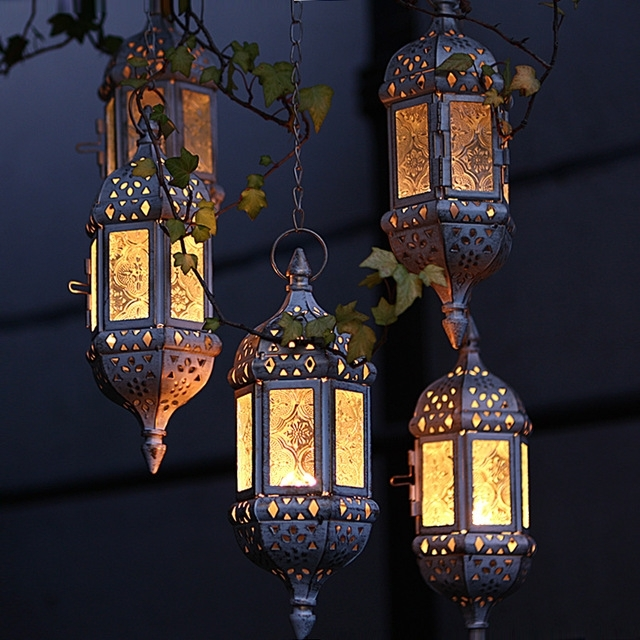Home Decor Vintage Metal Hollow Glass Moroccan Hanging Tea Light with regard to Outdoor Hanging Moroccan Lanterns (Image 5 of 10)