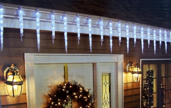 Homey Inspiration Icicles Christmas Lights Outdoor Dripping Led Regarding Outdoor Hanging Icicle Lights (View 10 of 10)