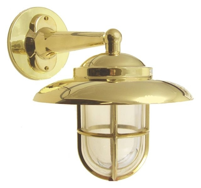 Hooded Wall Light With Cage, Solid Brass/interior & Exterior regarding Beach Outdoor Wall Lighting (Image 4 of 10)