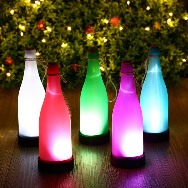 Hot 5Pcs Plastic Led Solar Wine Bottle Lights Garden Hanging Lamp with Outdoor Hanging Bottle Lights (Image 7 of 10)