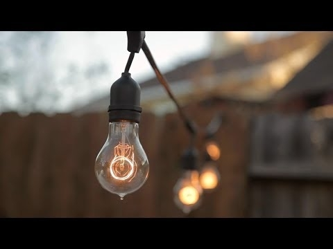How To Install String Lights Outdoors - Build - Youtube intended for Hanging Outdoor Lights on Stucco (Image 7 of 10)