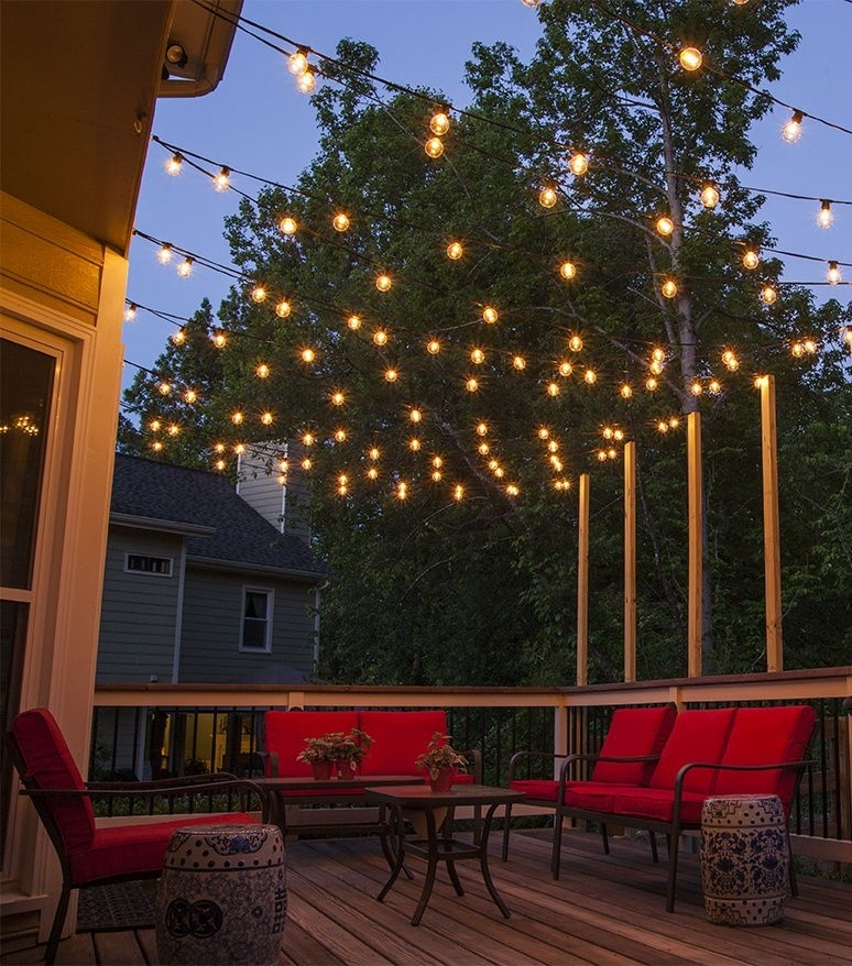 How To Plan And Hang Patio Lights | Patio Lighting, Outdoor Living inside Outdoor Hanging Decorative Lights (Image 7 of 10)