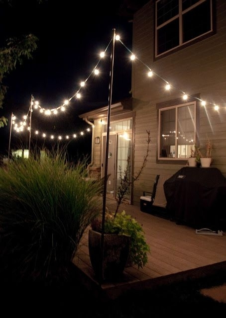 I Have Been Looking For A Good Diy Way To Hang String Lights On The regarding Hanging Outdoor Flood Lights (Image 4 of 10)