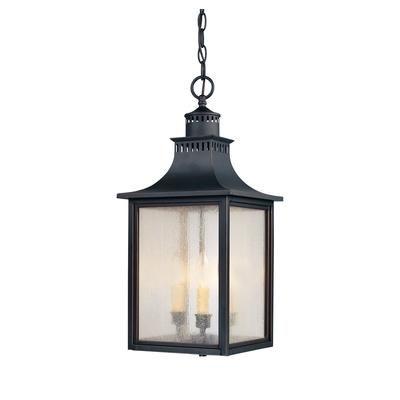 Illumine - Satin 3 Light Black Halogen Outdoor Hanging Lantern With in Outdoor Hanging Lanterns From Canada (Image 5 of 10)