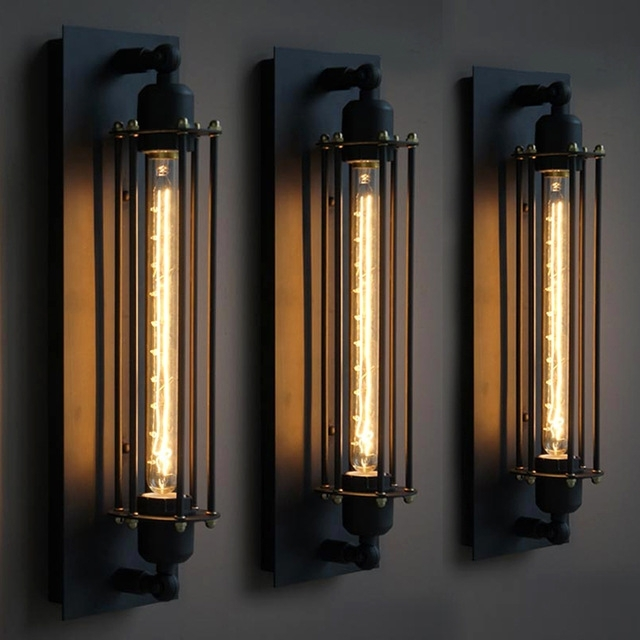 Industrial Wind American Village Retro Loft Creative Iron Bedroom with Industrial Outdoor Wall Lighting (Image 5 of 10)