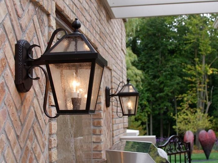 Inspiring Outdoor Lighting Wall Mount Outdoor Hanging Porch Lights inside Hanging Outdoor Lights on Brick (Image 8 of 10)