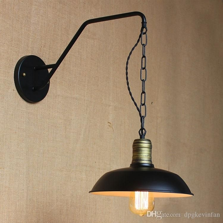 Iron Retro Hanging Chain Black Metal Lampshade Wall Lights Outdoor within Outdoor Hanging Wall Lights (Image 4 of 10)