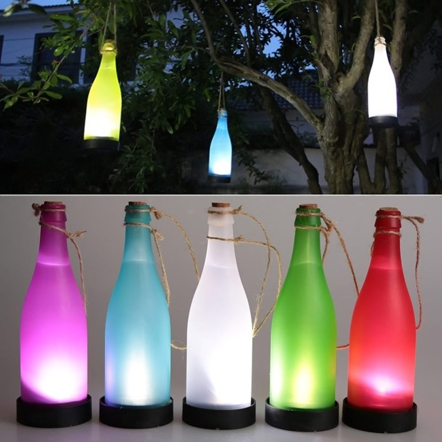 Jiaderui Creative Led Cork Wine Bottle Solar Sense Lights Outdoor with Outdoor Hanging Bottle Lights (Image 8 of 10)