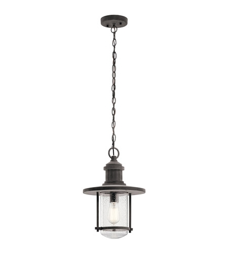 Kichler 49196Wzc Riverwood 1 Light 11 Inch Weathered Zinc Outdoor Pertaining To Kichler Outdoor Hanging Lights (Gallery 3 of 10)