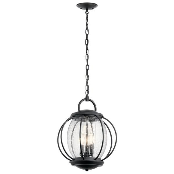 Kichler Lighting Vandalia Collection 3 Light Textured Black Outdoor Pertaining To Kichler Outdoor Hanging Lights (Gallery 4 of 10)