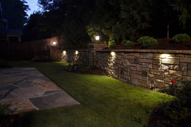 Landscape Block Wall Lighting - Wall Designs intended for Outdoor Block Wall Lighting (Image 7 of 10)