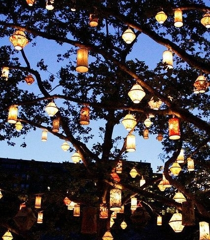 Lanterns In An Oak Tree In Backyard. Love!   Home Sweet Home intended for Outdoor Hanging Paper Lantern Lights (Image 5 of 10)