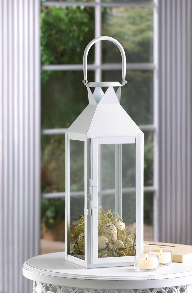 """Large 15"""" Tall White Candle Holder Lantern Lamp Terrace Outdoor with regard to Outdoor Hanging Candle Lanterns at Wholesale (Image 8 of 10)"""