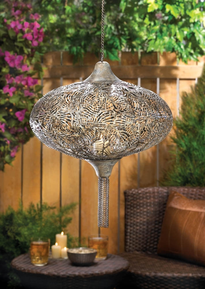 Large Hanging Pierced Moroccan Lantern Outdoor Chandelier Pendant in Outdoor Hanging Moroccan Lanterns (Image 6 of 10)