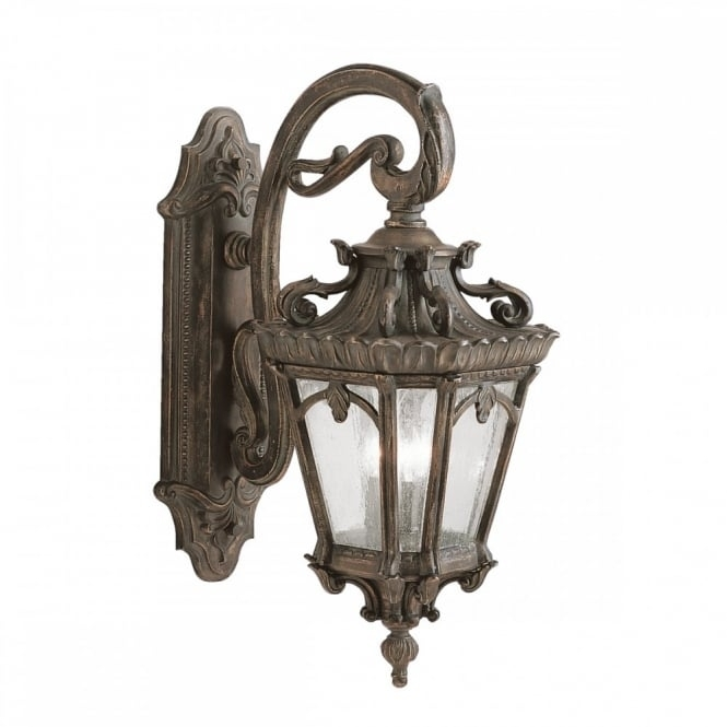 Large Ornate Gothic Outdoor Wall Lantern In Bronze With Seeded Glass With Regard To Gothic Outdoor Wall Lighting (View 3 of 10)