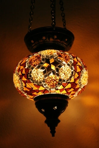 Large Turkish Moroccan Mosaic Hanging Lamp Pendant Lantern Lighting with Outdoor Hanging Lights at Ebay (Image 1 of 10)