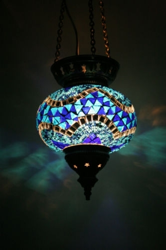 Large Turkish Moroccan Mosaic Hanging Lamp Pendant Lantern Lighting within Outdoor Hanging Lights At Ebay (Image 2 of 10)