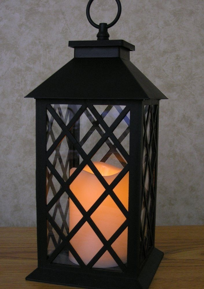 Led Black Plastic Decorative Lantern Pillar Candle With 5 Hour Timer inside Outdoor Hanging Decorative Lanterns (Image 8 of 10)
