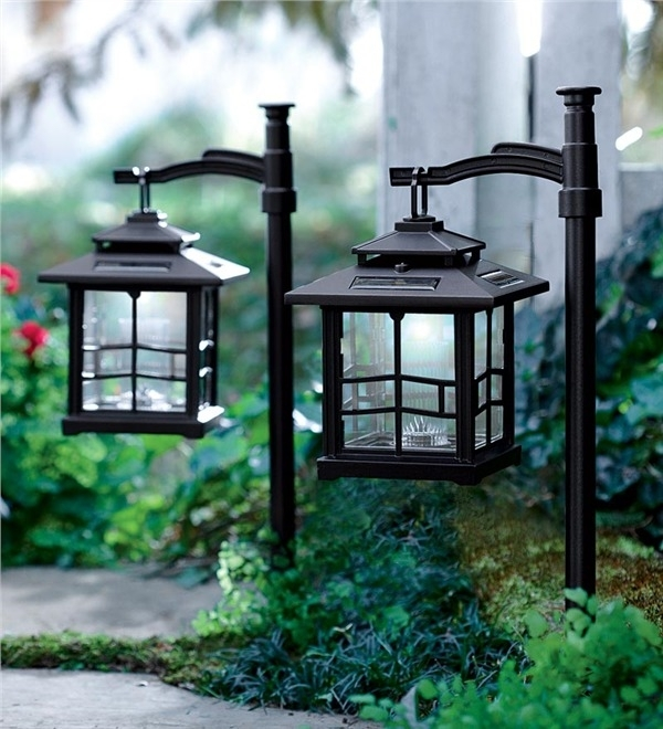 Led Shepherds Hook Solar Lantern | Lighting | Plow & Hearth for Outdoor Hanging Garden Lanterns (Image 5 of 10)