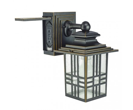 Lighting Fixtures: Outdoor Light Fixture With Electrical Outlet within Outdoor Wall Lighting With Outlet (Image 8 of 10)