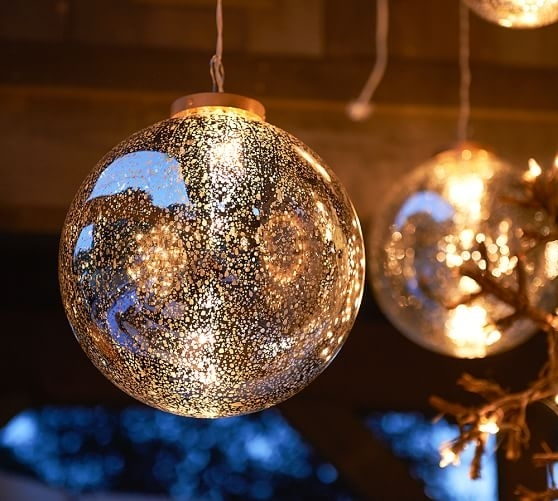 Lit Silver Mercury Hanging Orb | Pottery Barn with regard to Outdoor Hanging Orb Lights (Image 6 of 10)