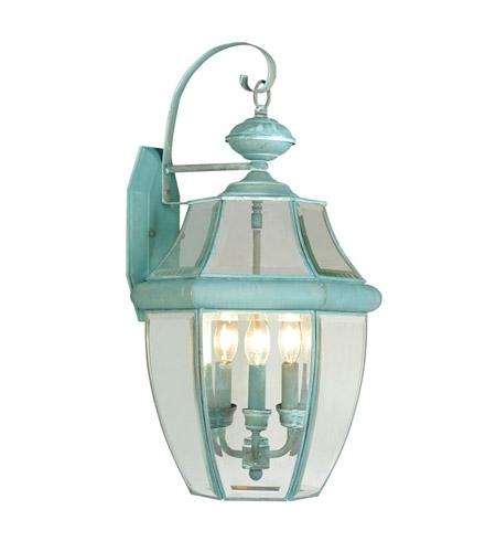 Livex 2351-06 Monterey 3 Light 23 Inch Verdigris Outdoor Wall Lantern throughout Verdigris Outdoor Wall Lighting (Image 7 of 10)