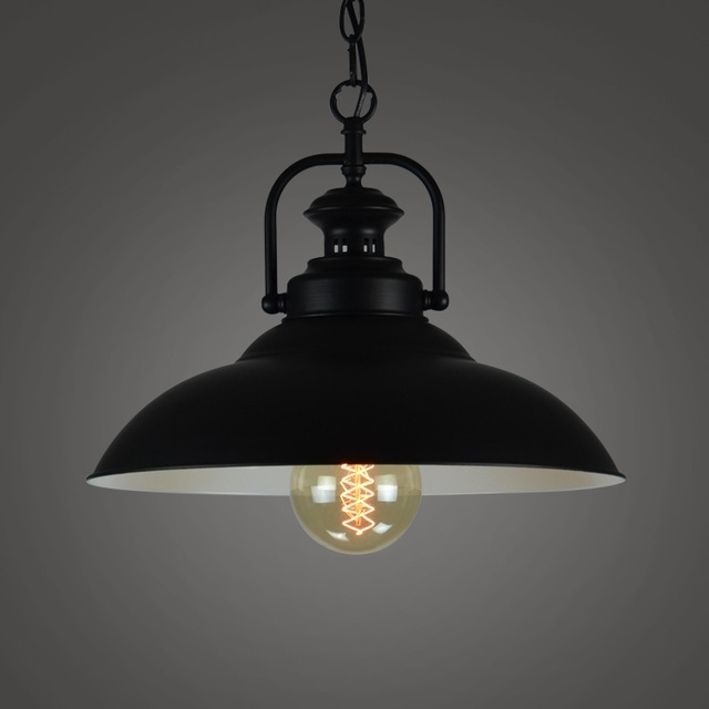 Loft Bar Black Iron American Vintage Retro Pendant Light Dining Room intended for Industrial Outdoor Hanging Lights (Image 3 of 10)