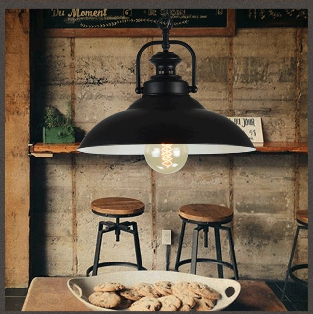 Loft Bar Black Iron American Vintage Retro Pendant Light Dining Room Regarding Industrial Outdoor Hanging Lights (View 4 of 10)