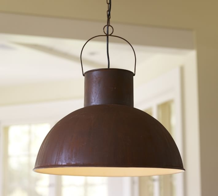 Mansfield Barn Industrial Indoor/outdoor Pendant | Pottery Barn throughout Outdoor Hanging Barn Lights (Image 5 of 10)