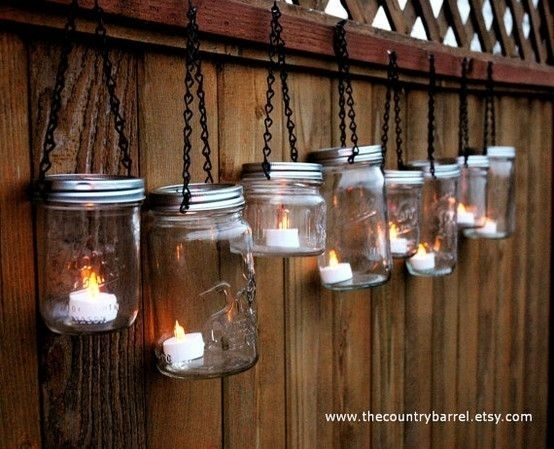 Mason Jar Lights / Use Battery Operated Candles | Mason Jar Ideas with regard to Outdoor Hanging Lanterns With Battery Operated (Image 5 of 10)