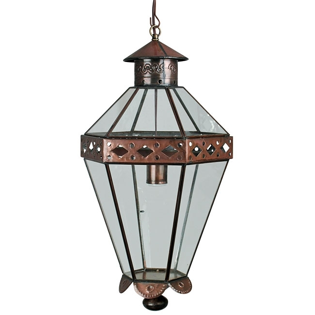 Mexican Colonial Tin And Glass Panel Hanging Light Fixture in Mexican Outdoor Hanging Lights (Image 5 of 10)